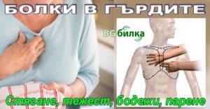 Болки в гърдите (гръдния кош). Стягане, тежест, бодежи, парене